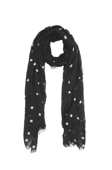 Warehouse, Dotty Print Scarf Black Pattern 0