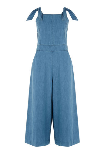 Warehouse, Tie Detail Jumpsuit Mid Wash Denim 0