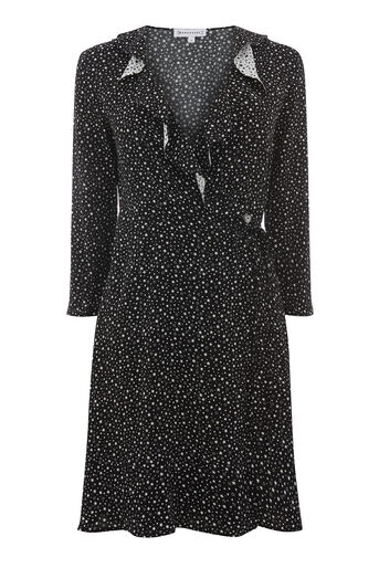 Warehouse, DITSY STAR FRILL WRAP DRESS Black Pattern 0