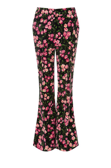 Warehouse, CHERRY BLOSSOM VELVET TROUSERS Pink Pattern 0
