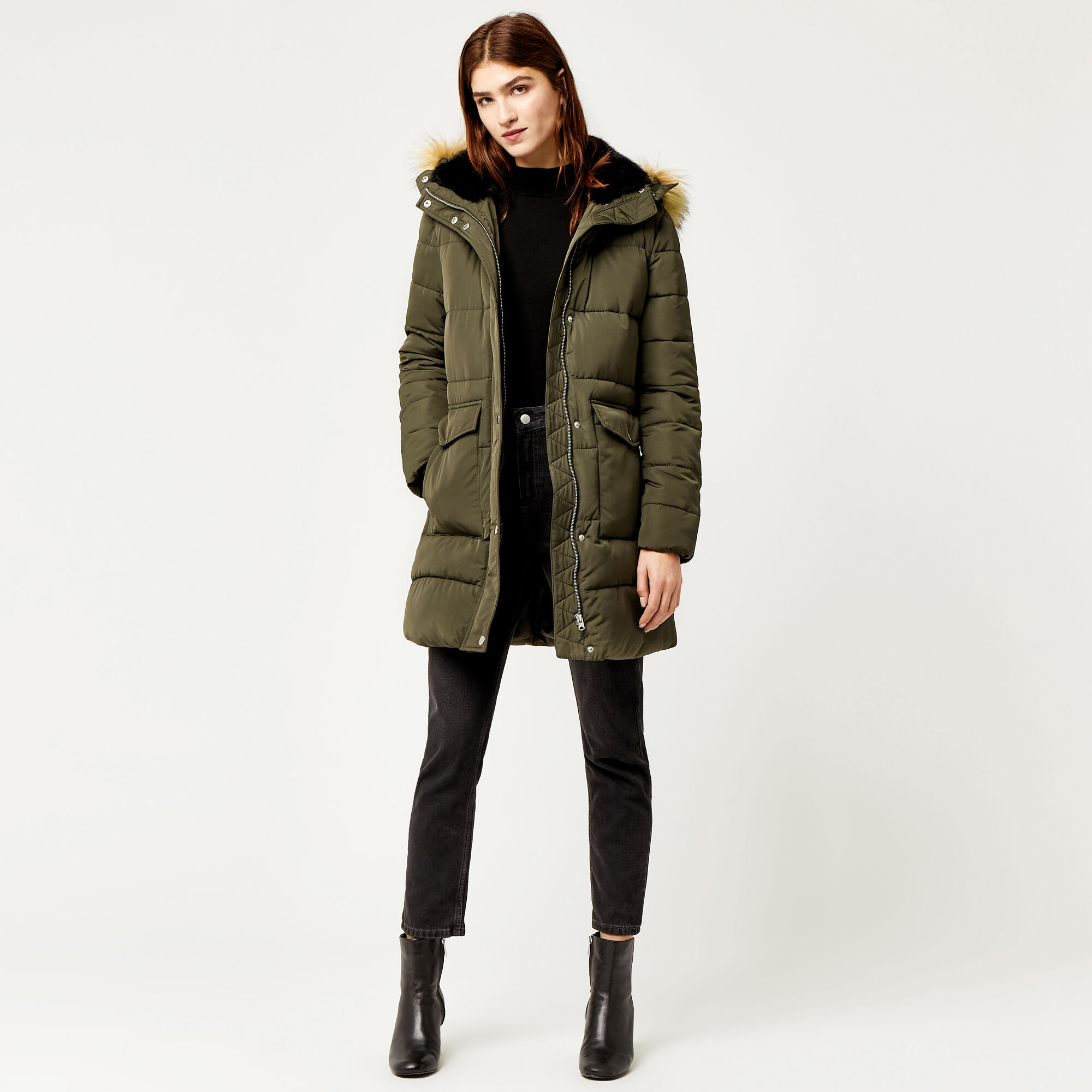 Warehouse, Fitted Wadded Coat Khaki 1