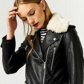 Warehouse, Fur Collar Faux Leather Biker Black 1