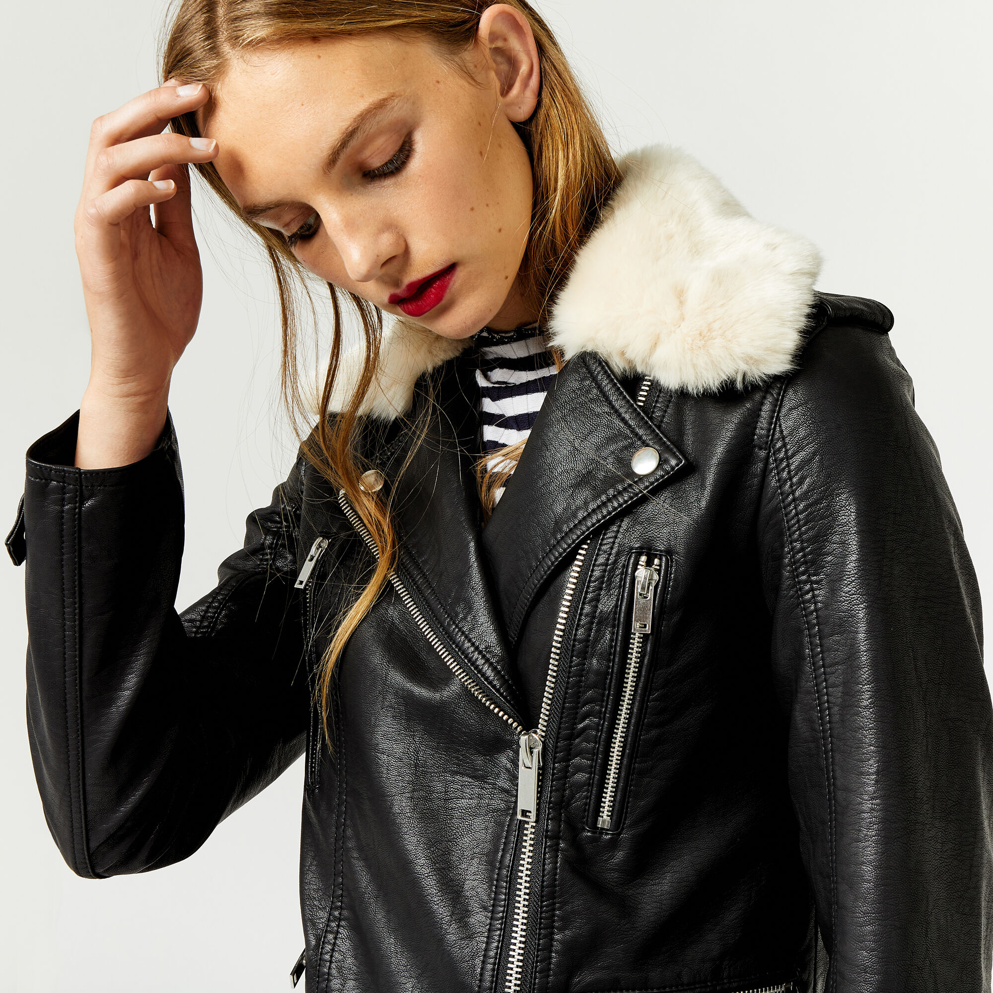 Warehouse, Fur Collar Faux Leather Biker Black 1