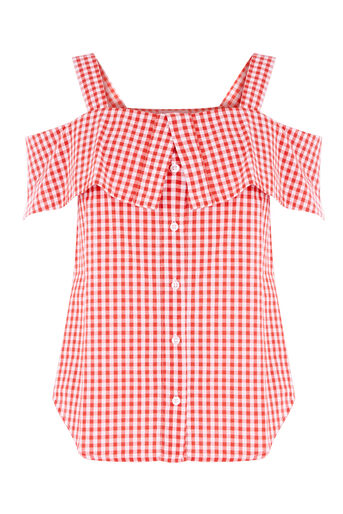 Warehouse, RED GINGHAM TOP Red Pattern 0