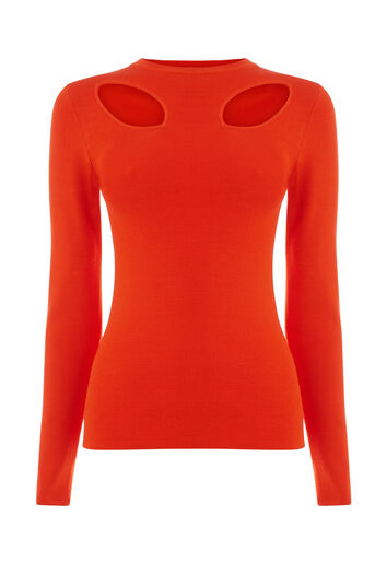 Warehouse, CUT OUT PETAL JUMPER Bright Red 0