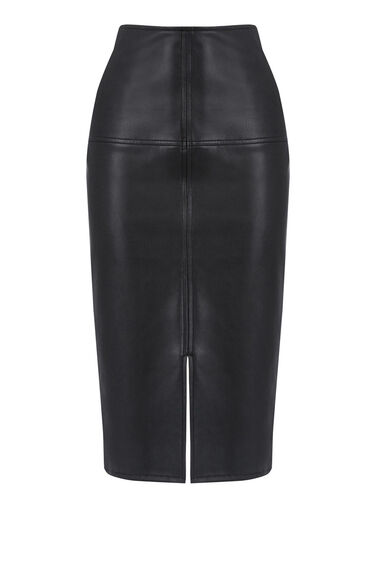 Warehouse, Faux Leather Pencil Skirt Black 0