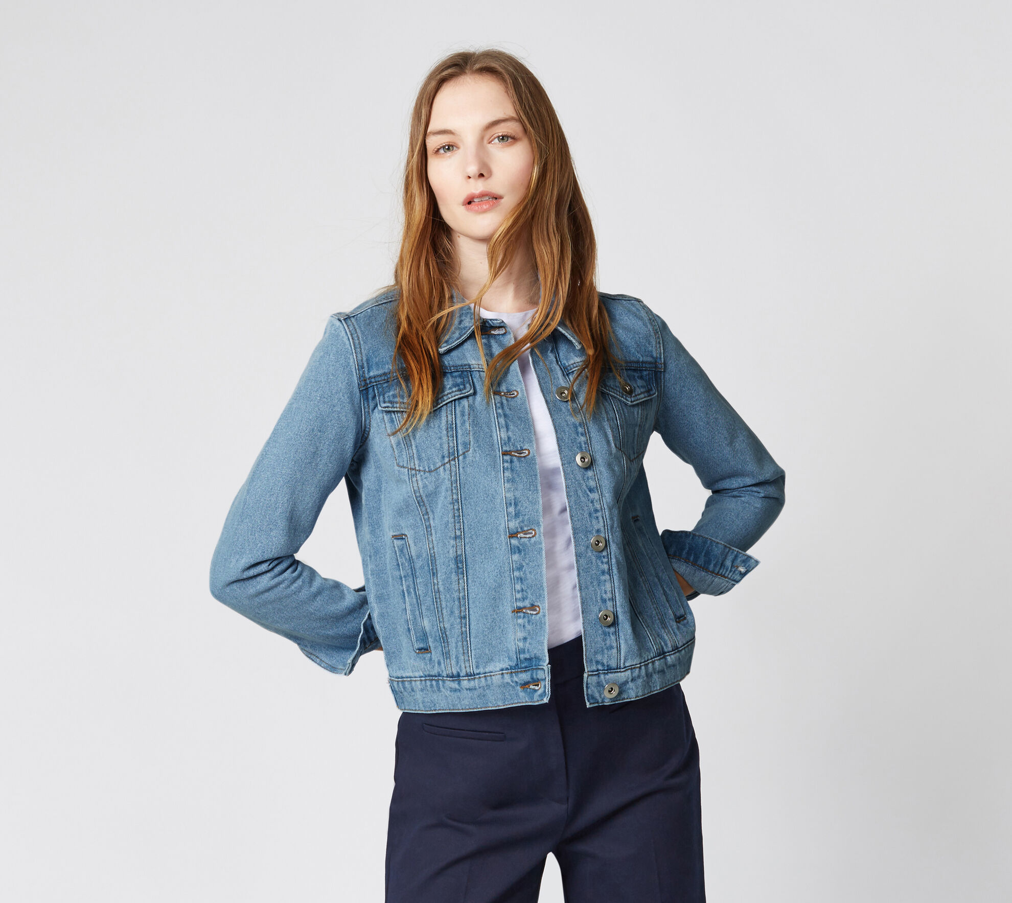 Warehouse, Crop Denim Jacket Light Wash Denim 1