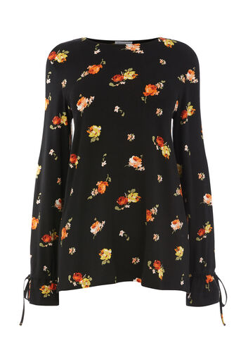 Warehouse, FLORENCE LONG SLEEVE TOP Black Pattern 0