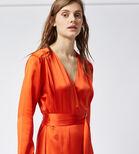 Warehouse, SILK LONG SLEEVE WRAP DRESS Orange 4