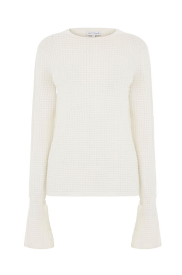 Warehouse, TEXTURED DRAWSTRING JUMPER Cream 0