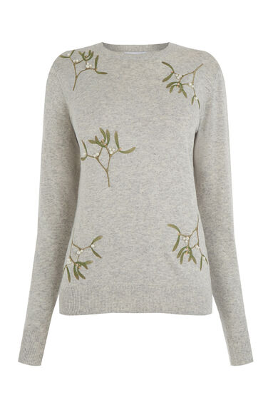 Warehouse, MISTLETOE CHRISTMAS JUMPER Light Grey 0