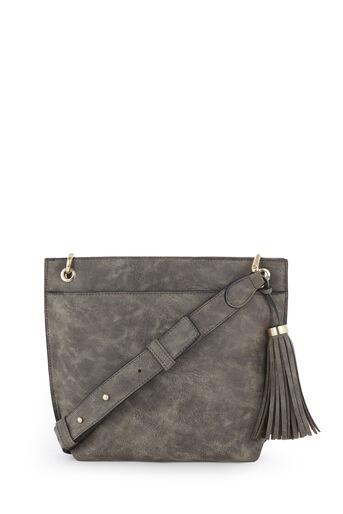 Warehouse, TASSEL DOUBLE ZIP CROSSBODY Dark Grey 0