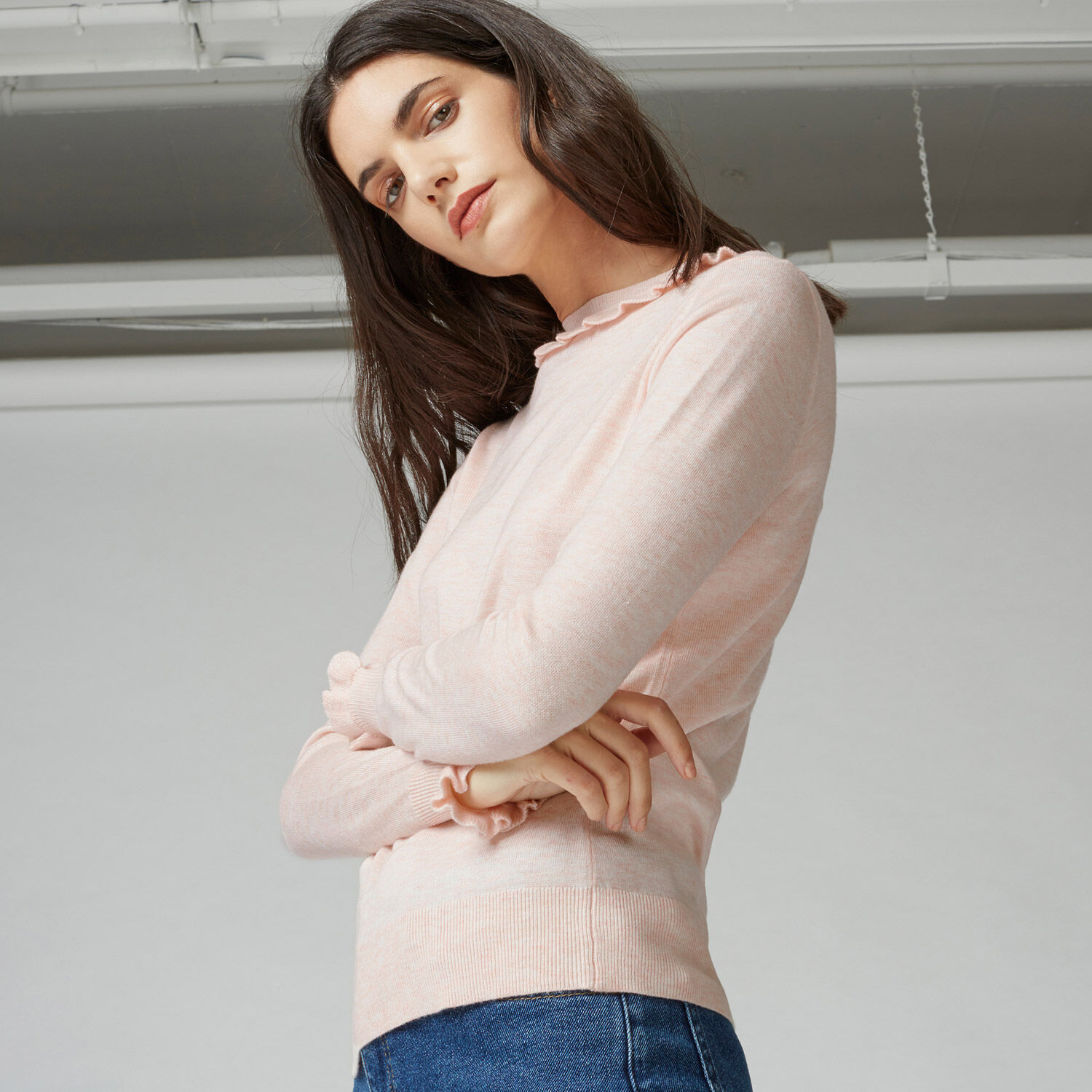 Warehouse, Frill Neck And Cuff Jumper Light Pink 1