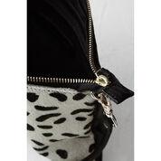 Warehouse, Leather Leopard Print Clutch Black 3