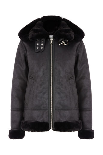 Warehouse, Faux Leather Hooded Biker Black 0