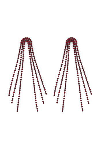 Warehouse, CURVED CRYSTAL DROP EARRING Dark Red 0
