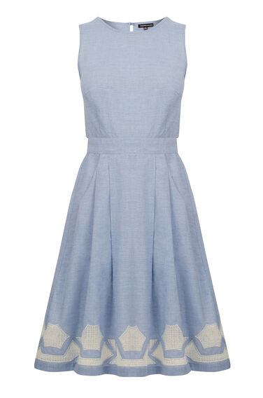 Warehouse, Chambray Cutwork Dress Light Blue 0