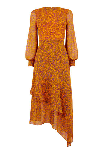 Warehouse, KYOTO FLORAL SILK MIDI DRESS Orange 0