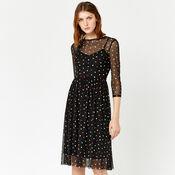Warehouse, RAINBOW SPOT MESH DRESS Black Pattern 4