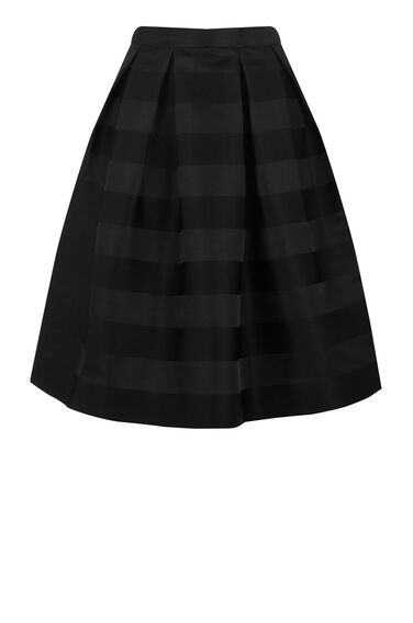 Warehouse, STRIPE JACQUARD PROM SKIRT Black 0