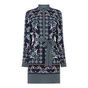 Warehouse, Persian Print Shirt Dress Blue Pattern 0