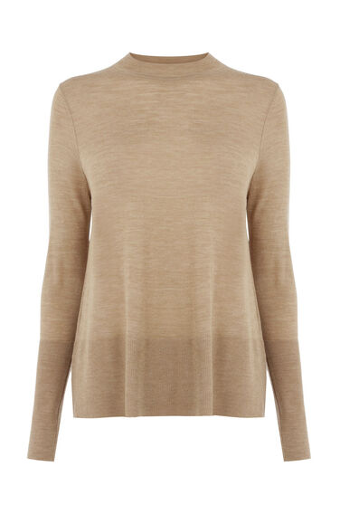 Warehouse, Wool Swing Crew Jumper Camel 0