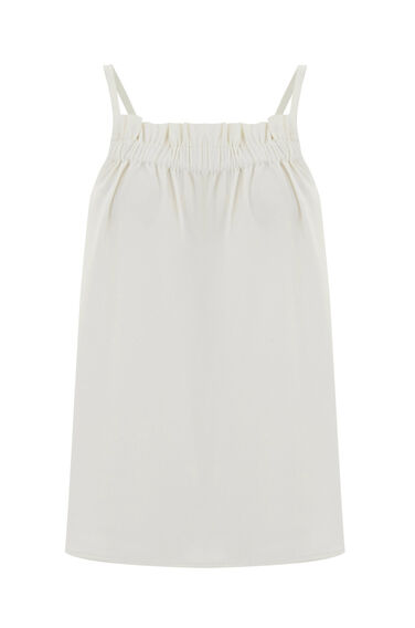 Warehouse, RUCHED CREPE CAMI Cream 0
