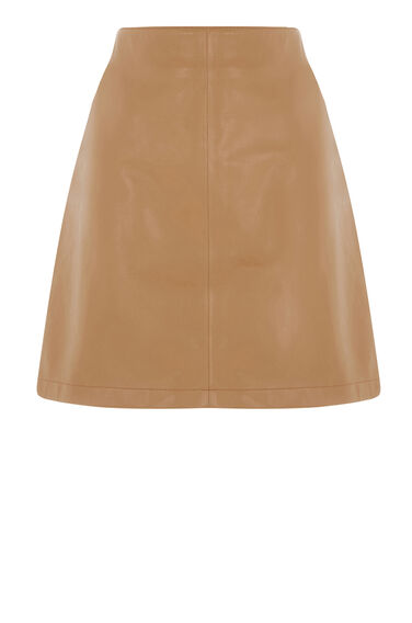 Warehouse, Leather Pelmet Skirt Tan 0