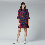 Warehouse, ROPE PRINT PONTE DRESS Red Pattern 2