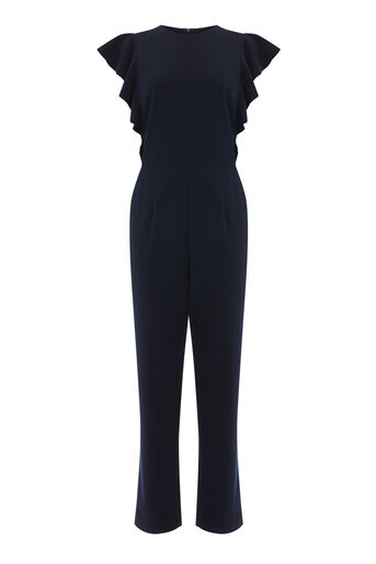 Warehouse, FRILL SLEEVE CREPE JUMPSUIT Navy 0