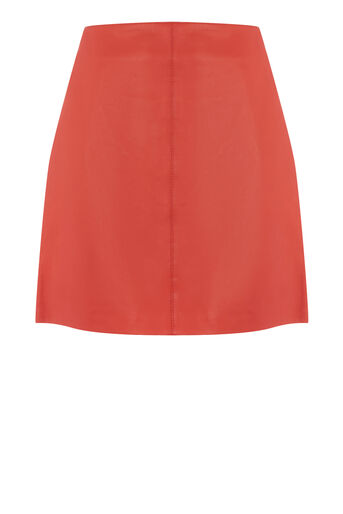 Warehouse, LEATHER SKIRT Bright Red 0