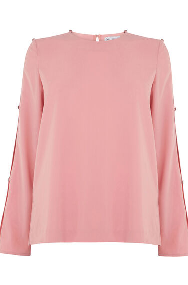 Warehouse, DIAMANTE BUTTON SLEEVE TOP Light Pink 0