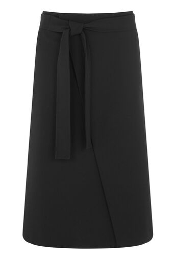 Warehouse, CREPE WRAP SKIRT Black 0