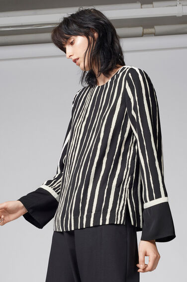 Warehouse, TORN STRIPE TOP Black Stripe 1