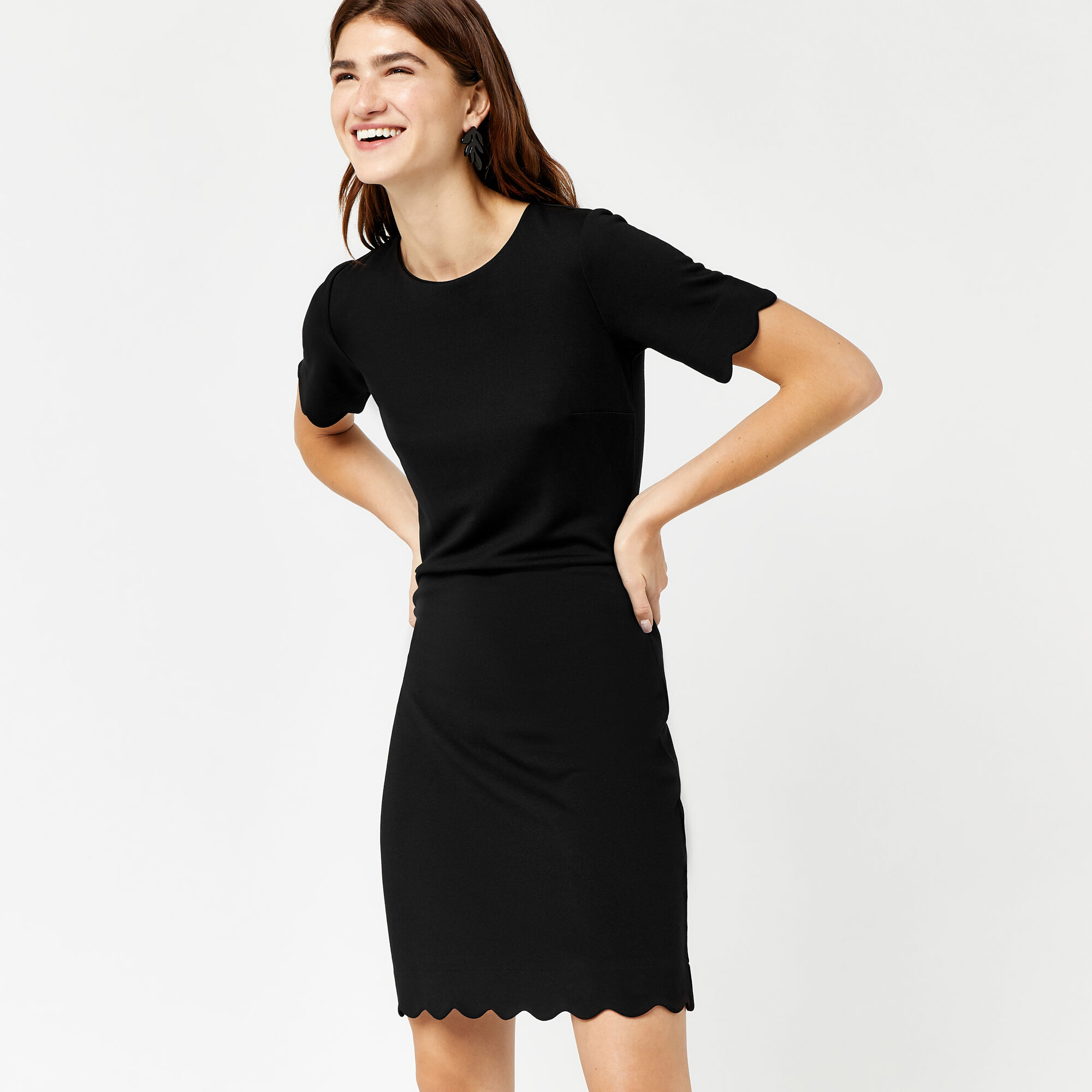 Warehouse, SCALLOP PONTE DRESS Black 1