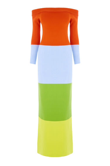 Warehouse, COLOURBLOCK BARDOT MAXI DRESS Multi 0