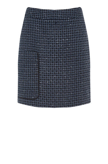 Warehouse, LUPITA TWEED PELMET SKIRT Navy 0