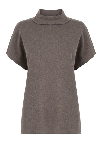 Warehouse, SQUARE FUNNEL NECK TOP Mink 0