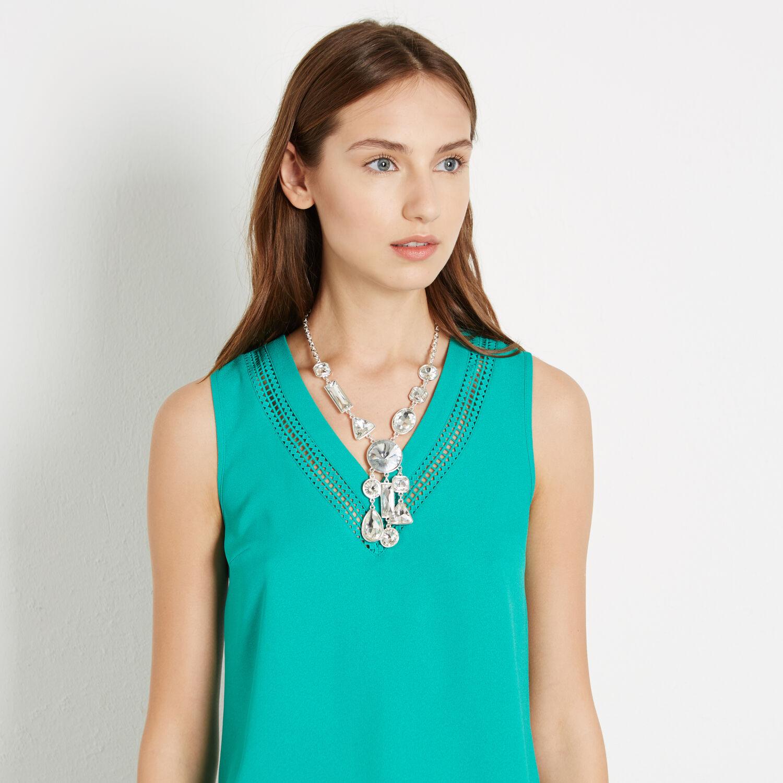 Warehouse, Mix Shape Jewel Necklace Silver Colour 1