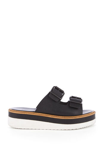 Warehouse, FLATFORM BUCKLE SANDAL Black 0