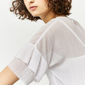 Warehouse, PLISSE FRILL SLEEVE TOP Cream 1