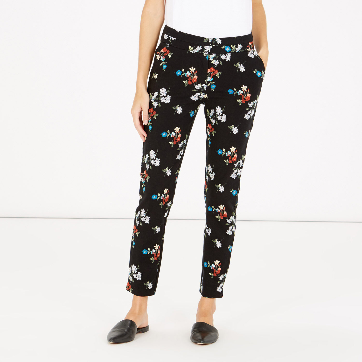 Warehouse, SPACED FLORAL SLIM TROUSERS Black 1