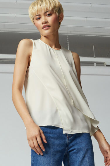 Warehouse, LAYERED SHELL TOP Cream 1