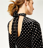 Warehouse, POLKA DOT VELVET DRESS Black Pattern 4