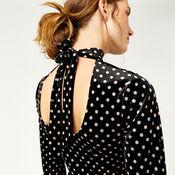 Warehouse, POLKA DOT VELVET DRESS Black Pattern 4