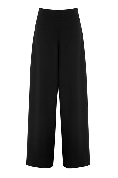 Warehouse, CREPE WIDE LEG TROUSERS Black 0