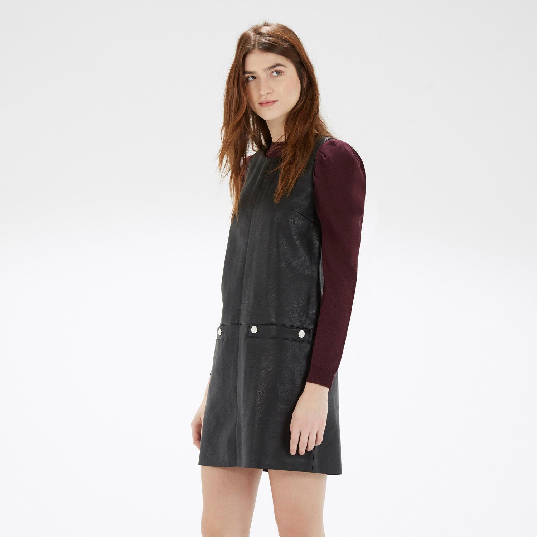 Warehouse, Faux Leather Popper Dress Black 1