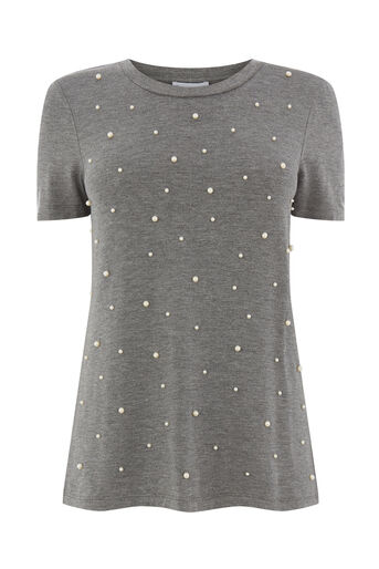 Warehouse, PEARL EMBELLISHED TEE Light Grey 0