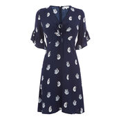 Warehouse, SWAN PRINT DRESS Blue Pattern 0