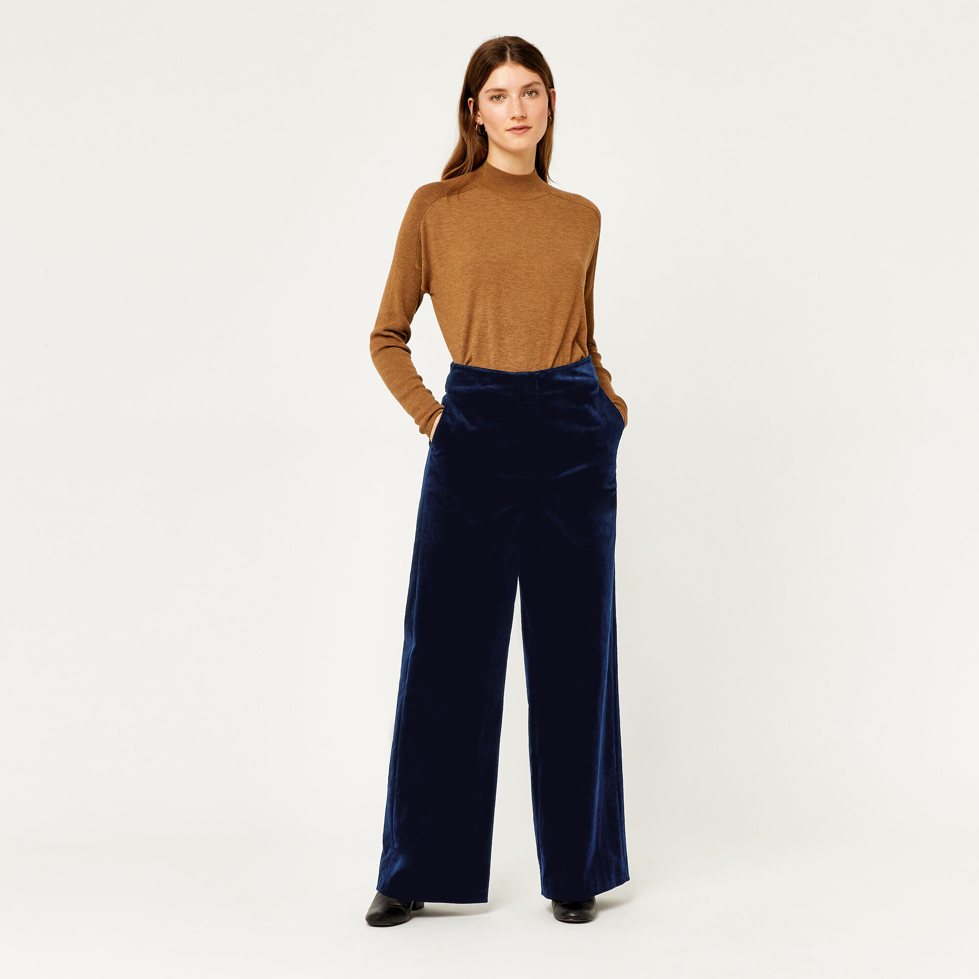 Warehouse, WIDE LEG CORD TROUSERS Navy 1